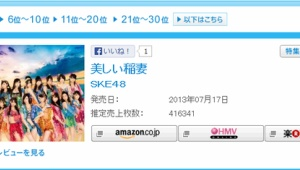 SKE48「美しい稲妻」初日売上416,341枚