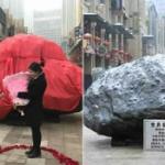 【動画】中国、男が33トンの超巨大「隕石」を贈り公開プロポーズ!その結果は…!? [海外]