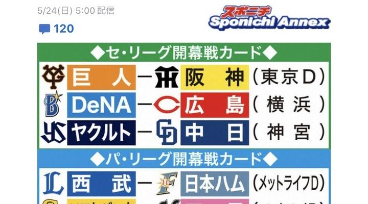 【朗報】12球団、6/19 開幕カード確定!!