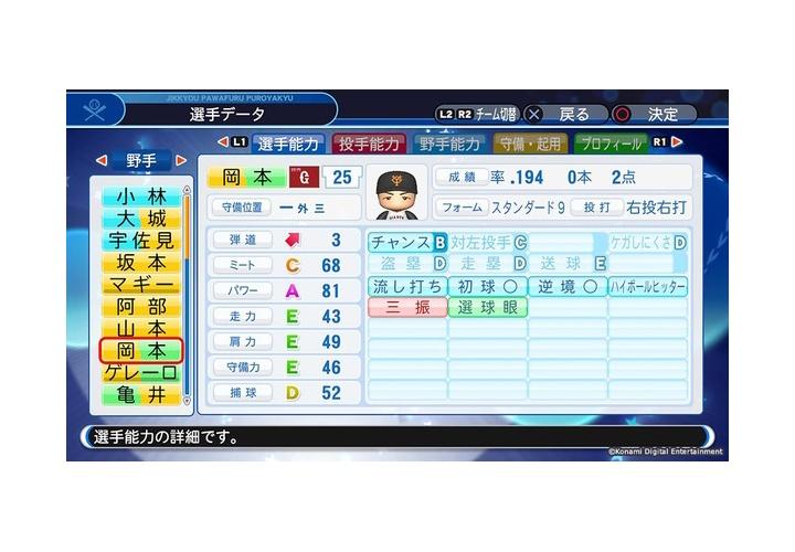 巨人・岡本和真(22)  ミートC(68)  パワーA(81)  流し打ち  初球  逆境  ハイボール  三振  選球眼