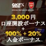 『GKFXprime(GKFXプライム)が、口座開設3000円ボーナス+入金100%ボーナス(+20%クッションボーナス)を実施(第一弾)!』の画像