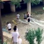 【動画】中国、豪雨で川が増水した後、市民が続々と川に集合し「さあ、漁だ!」 [海外]