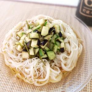 昆布から出る粘りで♪夏野菜ネバネバ素麺