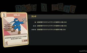 Fallout 76 PERK「Ninja」