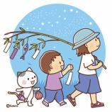 『【クリップアート】七夕のイメージ・短冊のついた笹を持ち歩く子どもたち』の画像