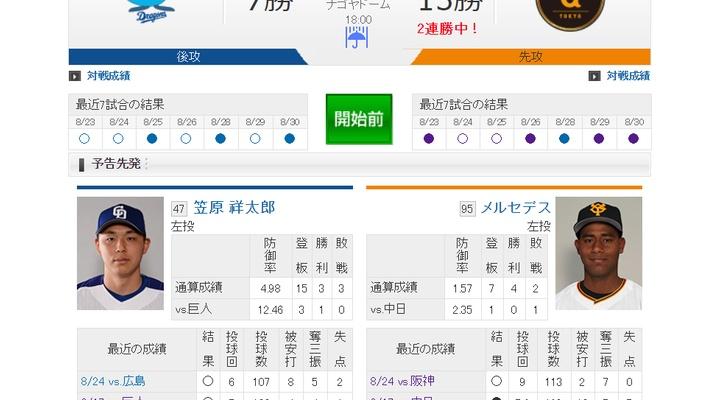 【 巨人実況!】vs 中日(21回戦)!先発はメルセデス!捕手は大城!18:00~