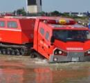 【大雨】中国地方での救助活動に向けて全国唯一の特殊車両「レッドサラマンダー」現地に