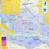 『10月25日午前10時20分時点。洪水警報がでている戸田市ですが、笹目川と上戸田川から繋がる菖蒲川にかけて水位が上がっています。今後の戸田市防災情報にご注意ください。』の画像