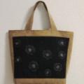 リボンとビーズの黒い花のバッグ