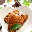 《レシピ》茄子の豚肉巻き・甘酢ソース。