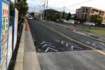 ガスト前の道『私部西線』が舗装工事中〜コーンが100個位並んでいたり手書きマークあったり〜