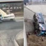 【動画】中国、救急車とバスが交差点で衝突!バスはコントロールを失い橋から落下!