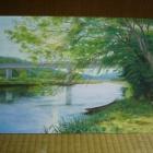 『ベニヤ板に不透明絵具ガッシュで描く茨城と福島の景色・花』の画像