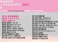 Second generation「おうちでリクアワ2021(2018年〜2020年楽曲)」順位まとめ