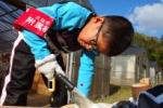 ベニヤ板をノコギリで切る少年の姿に親子の絆を感じた!@私市植物園(かたのカンヴァス)