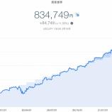 『【爆益!!】2021年3月3週目!THEO+docomoの資産運用状況は834,749円でした』の画像