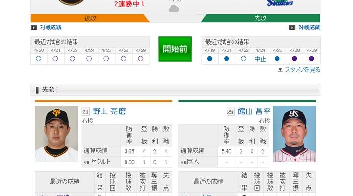 【 巨人実況!】vs ヤクルト(6回戦)!先発は野上!14:00~