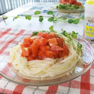 レモンペパーミックスで簡単に♪サラダトマトうどん