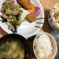野菜炒め 豆腐納豆 市販コロッケ