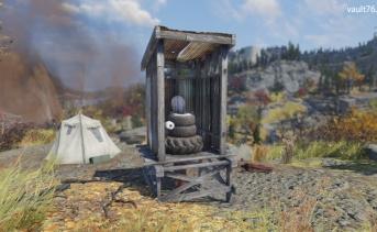 タイヤの野外トイレ