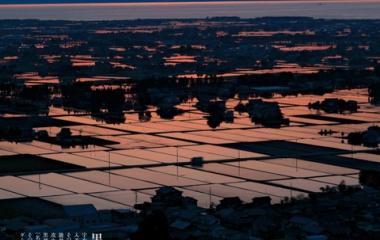 『舟見城址から能登半島越しの夕陽を…』の画像