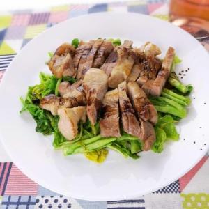 がっつりお肉♪豚肩ロースのステーキと菜の花のソテー