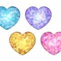 ラメ風のハートマーク素材 水色・紫・ピンク・金色