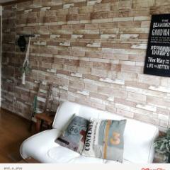 ビンテージ木目調「クッションシート壁」を使ったお客様のDIY