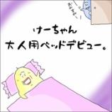 『けーちゃん、大人用ベッドデビュー。』の画像