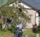民家の木で柿の実を食べているクマを発見。猟友会が網でつつくと木から落ちて現場騒然。その後、山へ。福井市