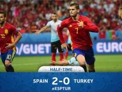 <EURO2016>【  スペイン×トルコ  】前半終了!スペインがモラタ&のリートのゴールで2-0!