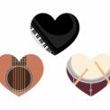 フリー素材 楽器イラストのハートマーク