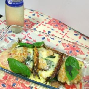 マルゲリータっぽい!鰯とトマトとバジルのチーズ焼き