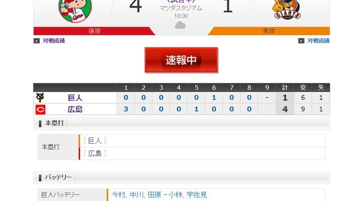 【 巨人試合結果・・・】< 巨 1-4 広 >巨人連敗・・・なお、阿部がこの試合で2000本安打達成!
