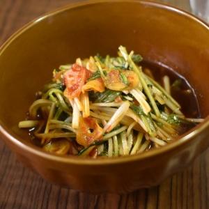 ガツンとくる味わい♪水菜のにんにくピリ辛炒め