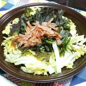 白菜とからし菜のハムサラダ