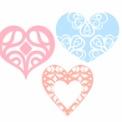 3色の装飾的なハートマーク素材