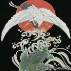 メンズ和柄半袖Tシャツ/鶴亀鯛