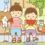 『【クリップアート】スイカを食べる子どもたちのイラスト』の画像