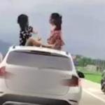 【動画】中国、BMWの屋根の上に2人の女の子が乗ったまま走行!動画拡散し物議 [海外]