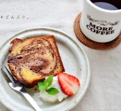 【今日のおやつ】チョコといちごの三色パウンドケーキ