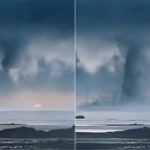 【動画】中国、空から突然、雲がズドーン!と落ちてきて「水上竜巻」になる! [海外]