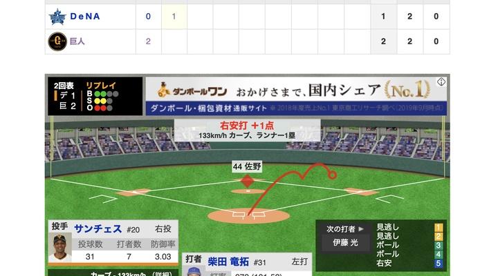 【動画】<巨人×横浜 18回戦> 先発サンチェス、柴田にタイムリーに打たれる【巨2-1De】