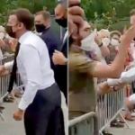 【動画】仏・マクロン大統領、地方訪問中に市民の男から突然「ビンタ」される!