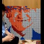 ルービックキューブで「河野太郎」のピクセルアート作った!さて、エゴサくるか?