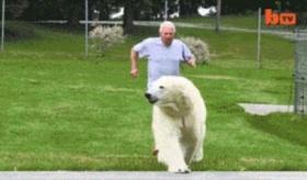【海外:笑ったら寝ろ】   男と彼のペットのクマ。