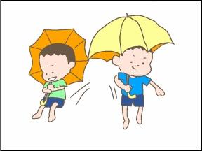 【4コマ漫画】子どもの頃、傘で空を飛べると思ってた……よね?