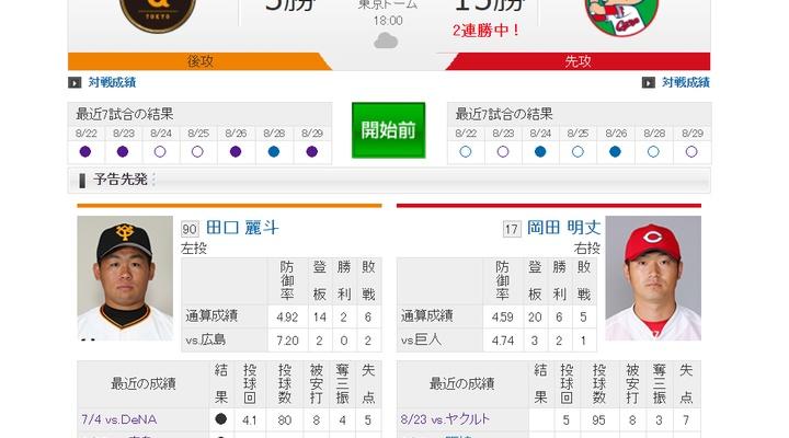 【 巨人実況!】vs 広島(22回戦)!先発は田口!捕手は小林!18:00~