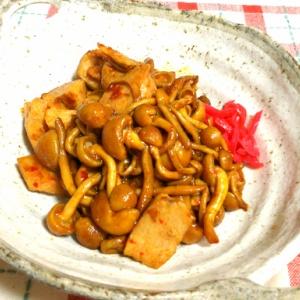 ナメコと鶏ムネ肉のニンニク炒め