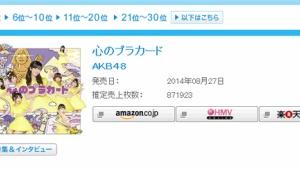 渡辺麻友センター曲「心のプラカード」初日売上871,923枚